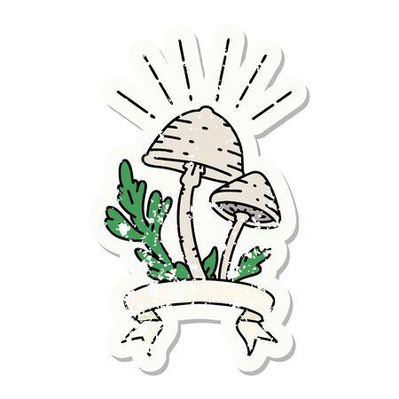 worn old sticker of a tattoo style mushrooms