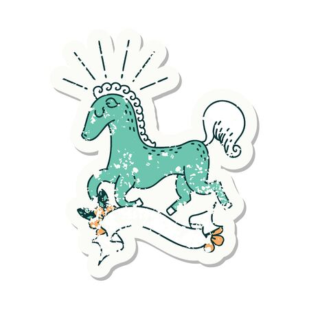 worn old sticker of a tattoo style prancing stallion