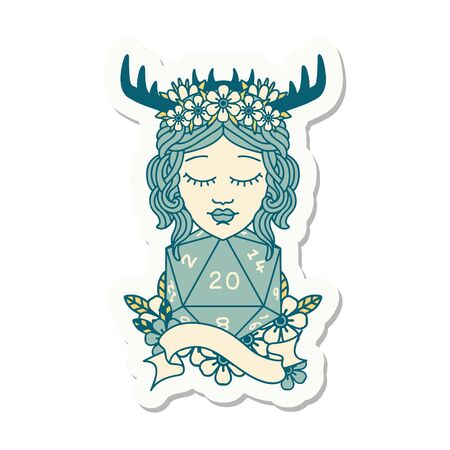sticker of a human druid with natural twenty dice roll