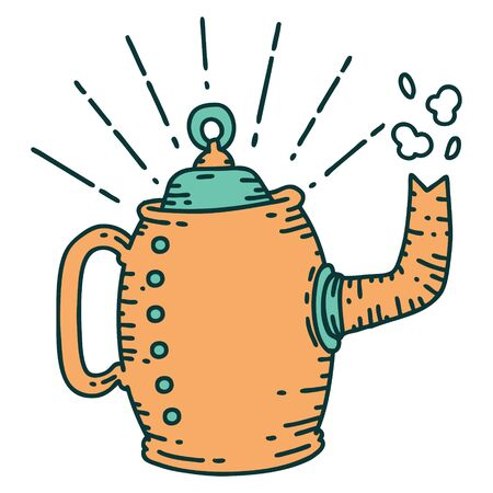 illustration of a traditional tattoo style old coffee pot steaming