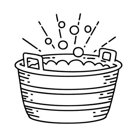 illustration of a traditional black line work tattoo style tin bath