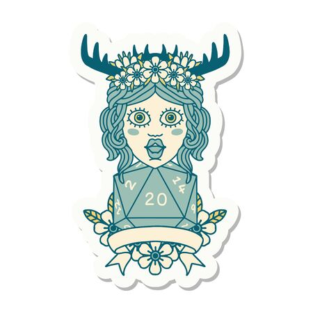 sticker of a human druid with natural 20 dice roll