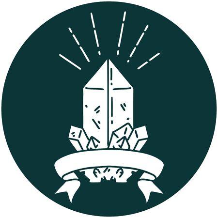icon of a tattoo style quartz crystal