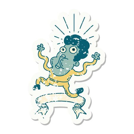 worn old sticker of a tattoo style frightened man
