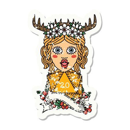grunge sticker of a human druid with natural twenty dice roll 矢量图像