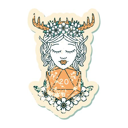 Retro Tattoo Style elf druid character with nautral twenty dice roll