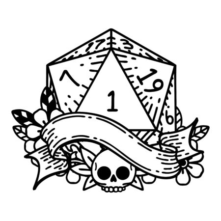 Black and White Tattoo linework Style natural one d20 dice roll 矢量图像