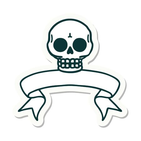 tattoo style sticker with banner of a skull