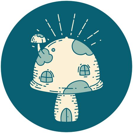 icon of a tattoo style toadstool house