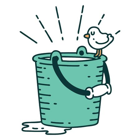 illustration of a traditional tattoo style bird perched on bucket of water