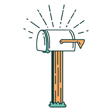 illustration of a traditional tattoo style closed mailbox 矢量图像