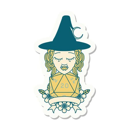 sticker of a half orc witch character with natural 20 dice roll
