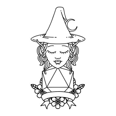 Black and White Tattoo linework Style elf mage character with natural twenty dice roll 矢量图像