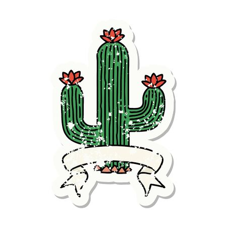 worn old sticker with banner of a cactus 矢量图像