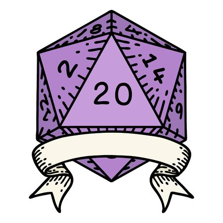 Retro Tattoo Style natural 20 critical hit D20 dice roll 矢量图像