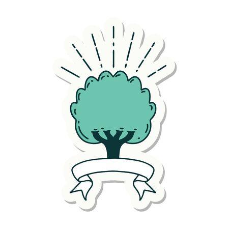 sticker of a tattoo style tree 矢量图像