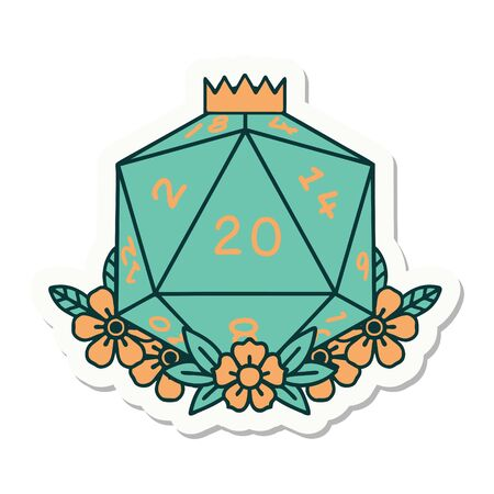 sticker of a natural 20 D20 dice roll with floral elements 矢量图像