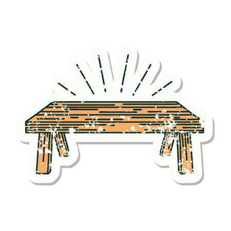 worn old sticker of a tattoo style wood table 矢量图像