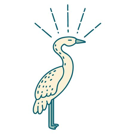 illustration of a traditional tattoo style standing stork 矢量图像
