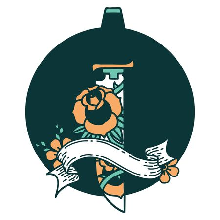 tattoo style icon with banner of a dagger and flowers