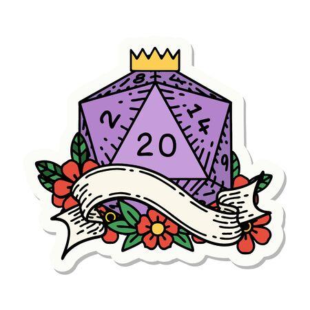 sticker of a natural twenty D20 dice roll