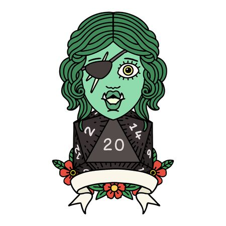 Retro Tattoo Style half orc rogue character with natural twenty dice roll 矢量图像