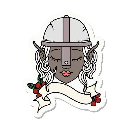 sticker of a elf fighter character face