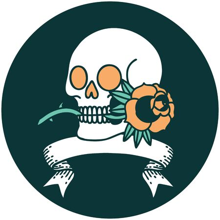tattoo style icon with banner of a skull and rose