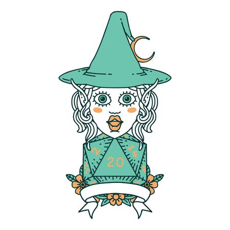 Retro Tattoo Style elf mage character with natural twenty dice roll