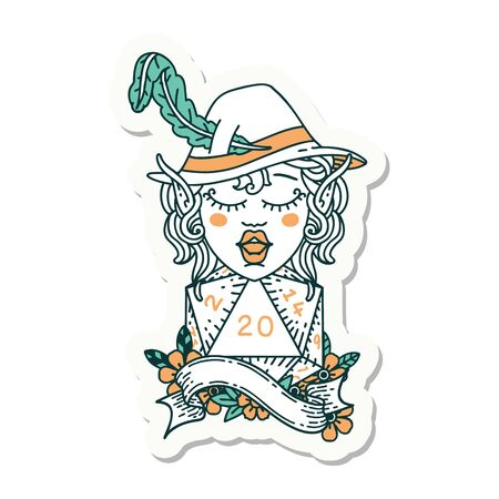 sticker of a elf bard with natural twenty dice roll