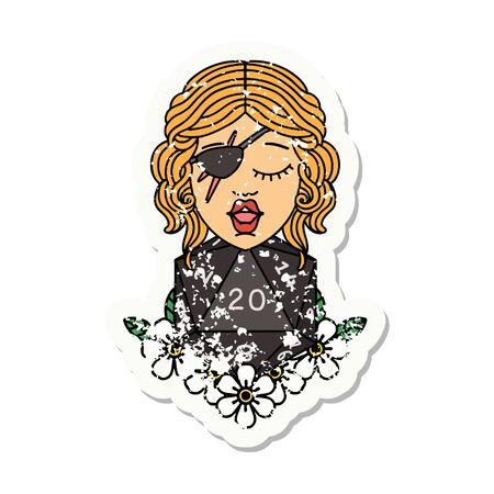 grunge sticker of a human rogue with natural twenty dice roll