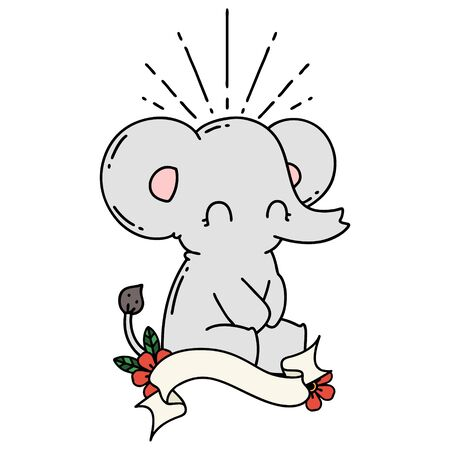 scroll banner with tattoo style cute elephant
