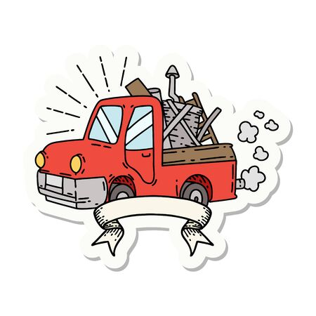 sticker of a tattoo style truck carrying junk  イラスト・ベクター素材