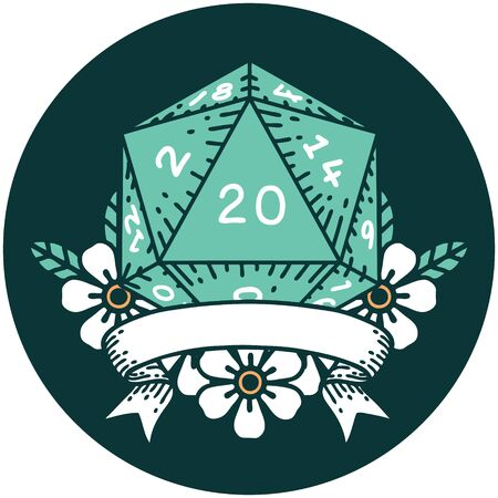 icon of natural 20 critical hit D20 dice roll 矢量图像