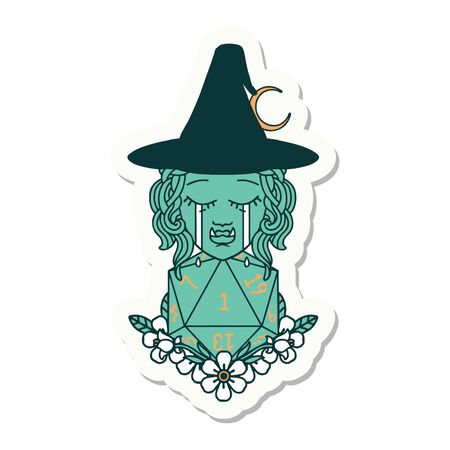 sticker of a crying half orc witch with natural one D20 dice roll 矢量图像