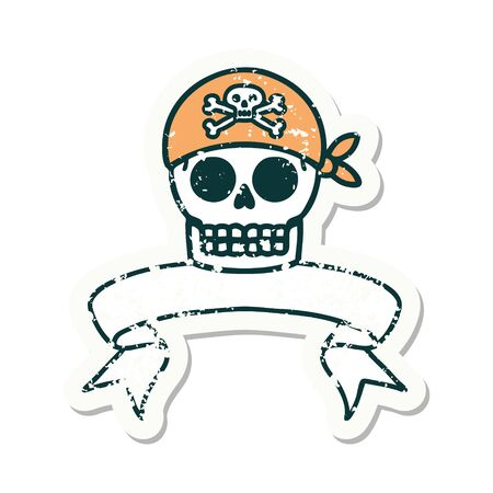 worn old sticker with banner of a pirate skull 矢量图像