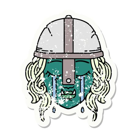 Retro Tattoo Style crying orc fighter character face 矢量图像