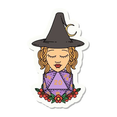 sticker of a human witch with natural twenty dice roll
