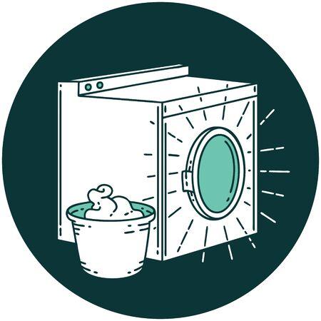 icon of a tattoo style washing machine