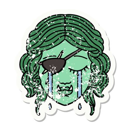 grunge sticker of a crying half orc rogue character face