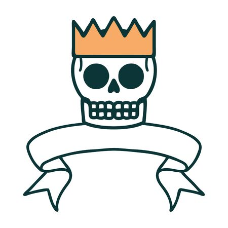 traditional tattoo with banner of a skull and crown 矢量图像