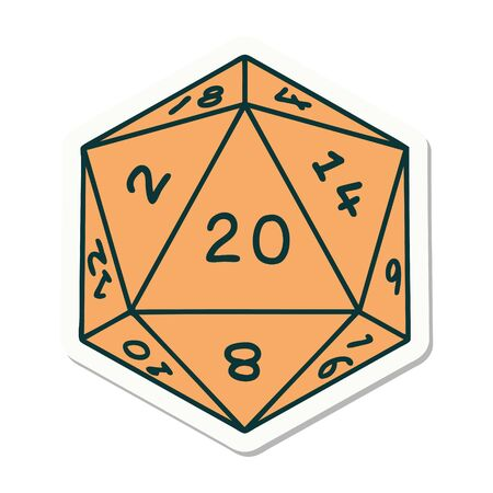 sticker of a natural 20 D20 dice roll