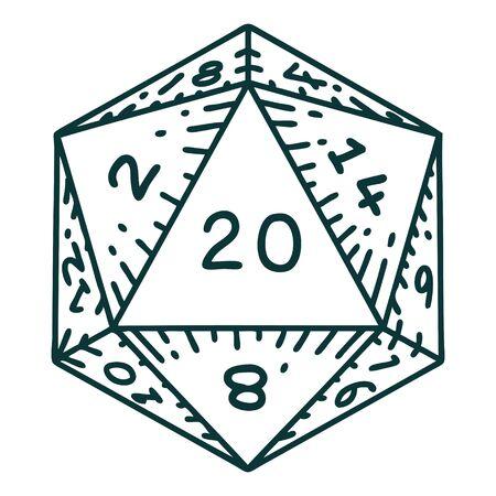 Retro Tattoo Style natural 20 D20 dice roll 矢量图像