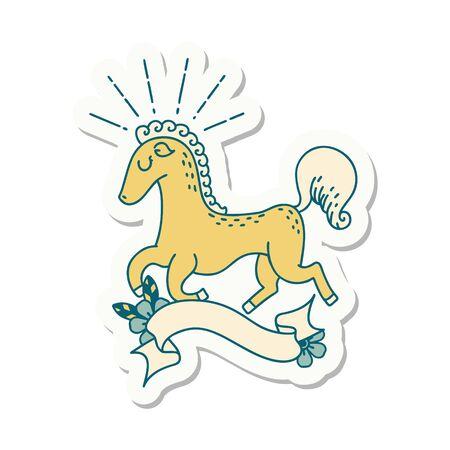 sticker of a tattoo style prancing stallion