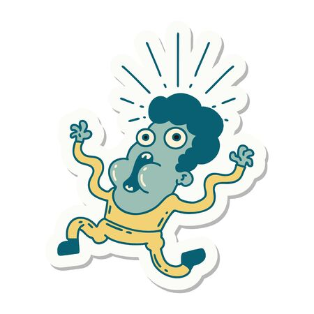 sticker of a tattoo style frightened man