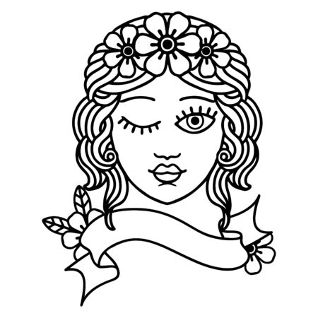 traditional black linework tattoo with banner of a maidens face winking