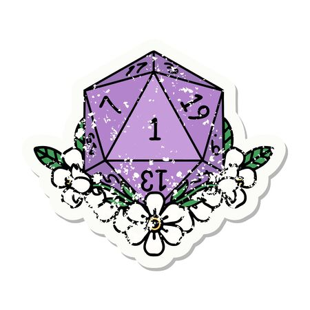 grunge sticker of a natural one dice roll with floral elements