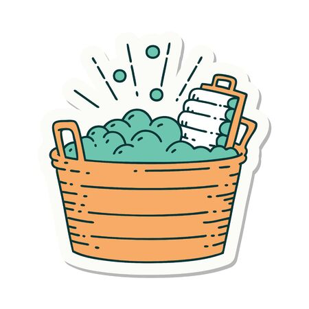 sticker of a tattoo style old washboard and scrubbing bowl  Illustration