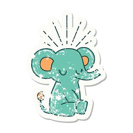 worn old sticker of a tattoo style cute elephant Иллюстрация