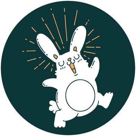 icon of a tattoo style prancing rabbit